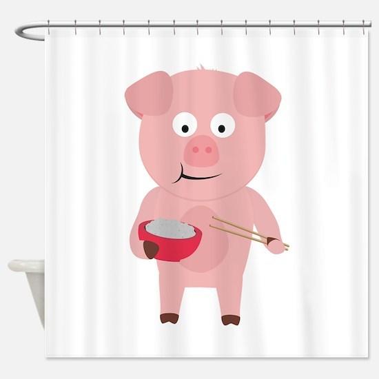 Kawaii Pig eating rice Shower Curtain