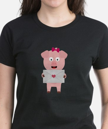 Female Pig with Loveletter T-Shirt