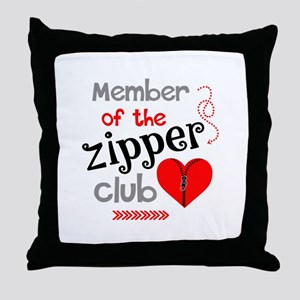 Member of the Zipper Club Throw Pillow