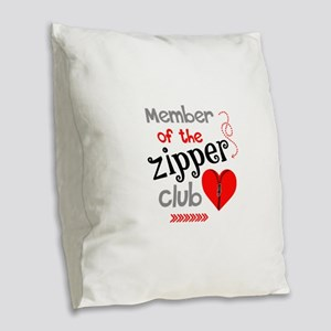 Member of the Zipper Club Burlap Throw Pillow