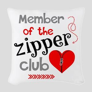 Member of the Zipper Club Woven Throw Pillow