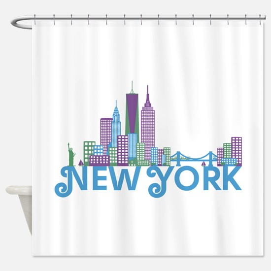 New York Colorful Skyline Shower Curtain