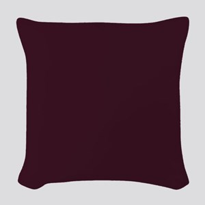 wine red burgundy plum Woven Throw Pillow