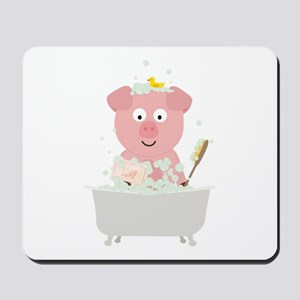 Pig in Bathtube with bubbles Mousepad