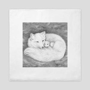 Arctic Fox Family ~ Queen Duvet