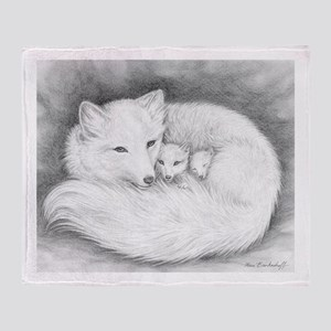 Arctic Fox Family ~ Throw Blanket (2 Sides)