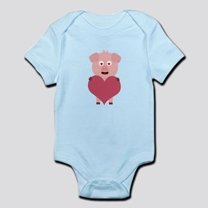 Pig with big Heart for Valentine Body Suit