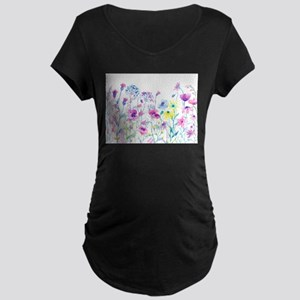Watercolor Field of Pastel Maternity T-Shirt