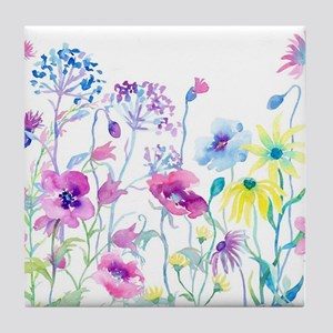 Watercolor Field of Pastel Tile Coaster