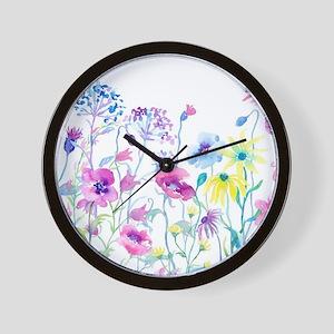 Watercolor Field of Pastel Wall Clock