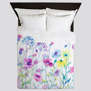 Watercolor Field of Pastel Queen Duvet