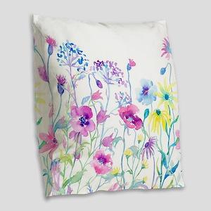Watercolor Field of Pastel Burlap Throw Pillow