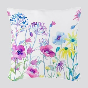 Watercolor Field of Pastel Woven Throw Pillow