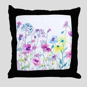 Watercolor Field of Pastel Throw Pillow