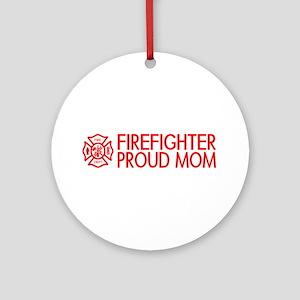 Firefighter: Proud Mom (Florian Cross) Round Ornam