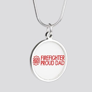 Firefighter: Proud Dad (Flor Silver Round Necklace