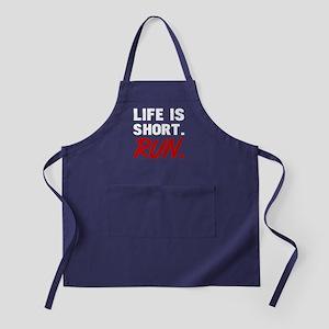 Life Is Short, Run Apron (dark)