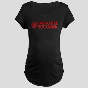 Firefighter: Proud Grandma Maternity Dark T-Shirt
