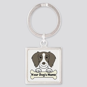 Personalized Brittany Spaniel Square Keychain