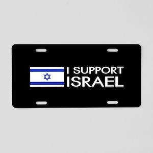 I Support Israel (Black) Aluminum License Plate