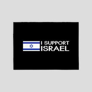I Support Israel (Black) 5'x7'Area Rug