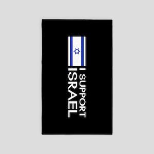 I Support Israel (Black) Area Rug