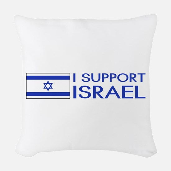 I Support Israel (White) Woven Throw Pillow