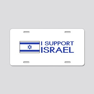 I Support Israel (White) Aluminum License Plate