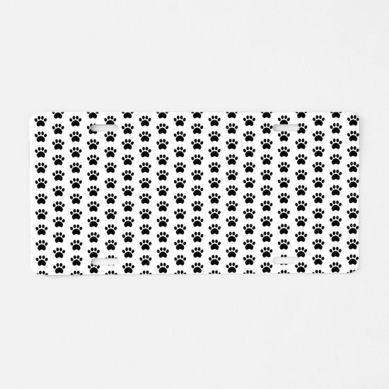 Paw Print Pattern Aluminum License Plate
