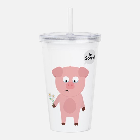 Pig Apologize with flo Acrylic Double-wall Tumbler