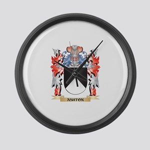Ashton Coat of Arms - Family Cres Large Wall Clock