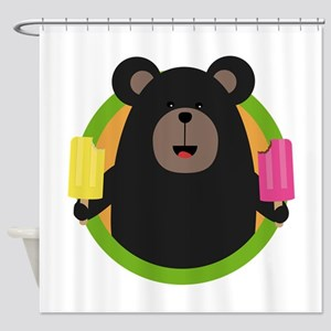 Grizzly with two Popsicle Shower Curtain