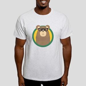 Nerd Brown Bear with cirlce T-Shirt