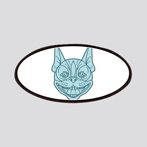 Boston Terrier Laughing Circle Mono Line Patch