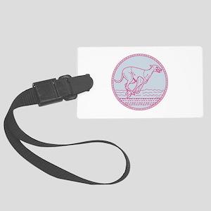 Greyhound Dog Racing Circle Mono Line Luggage Tag