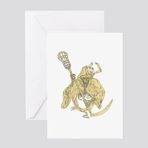Grim Reaper Lacrosse Stick Drawing Greeting Cards