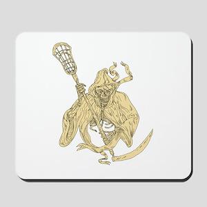 Grim Reaper Lacrosse Stick Drawing Mousepad