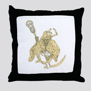 Grim Reaper Lacrosse Stick Drawing Throw Pillow