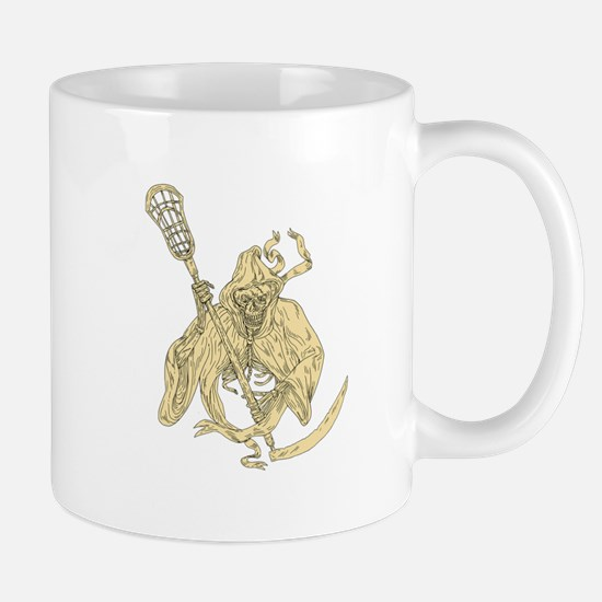 Grim Reaper Lacrosse Stick Drawing Mugs