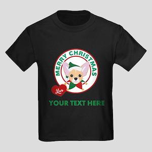 Custom Chihuahua Christmas Kids Dark T-Shirt