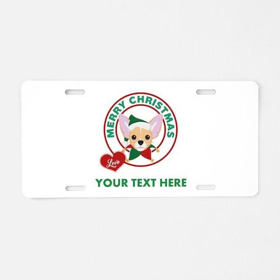 Custom Chihuahua Christmas Aluminum License Plate