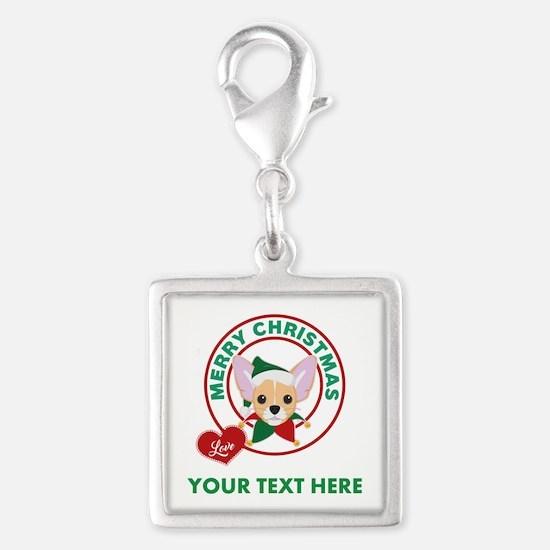 Custom Chihuahua Christmas Silver Square Charm