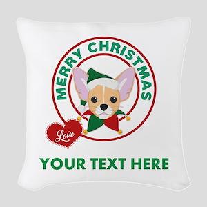 Custom Chihuahua Christmas Woven Throw Pillow