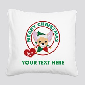 Custom Chihuahua Christmas Square Canvas Pillow