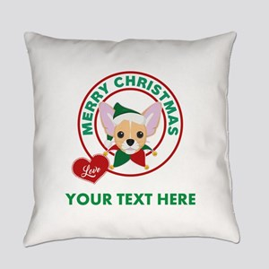 Custom Chihuahua Christmas Everyday Pillow