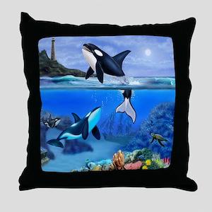 THE ORCA FAMILY Throw Pillow