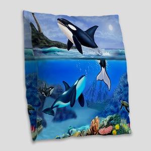 THE ORCA FAMILY Burlap Throw Pillow