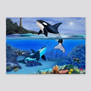 THE ORCA FAMILY 5'x7'Area Rug
