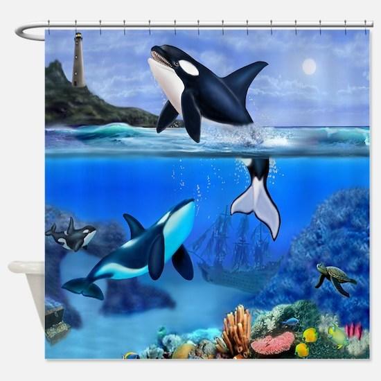 THE ORCA FAMILY Shower Curtain