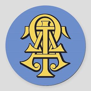 Alpha Tau Omega ATO Letters Round Car Magnet